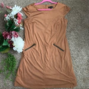 🎉3X HP🎉 Brown faux suede dress